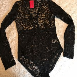 Lace long sleeve see thru bodysuit